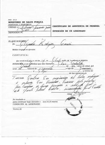 Certificado médico a Alexis Sabaleta