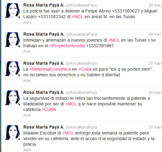 twit de @rosamariapaya denunciando últimas acciones de acoso contra activistas del MCL en todo el país