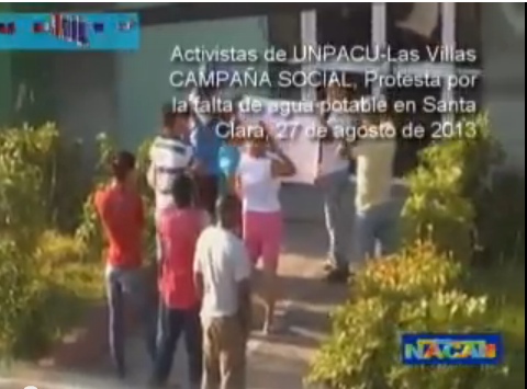 Protesta frente a CubaHidráulica en Santa Clara