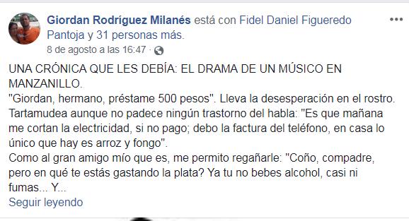 segemento facebook público de Giordan Rodríguez Milanés